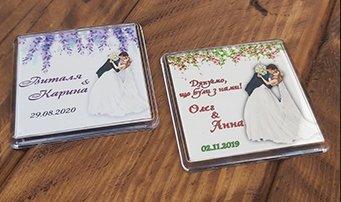 Оригинальные и стильные свадебные магниты
